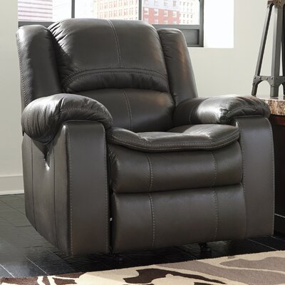 Long Knight Push Button Rocker Recliner Type: Manual, Upholstery: Gray