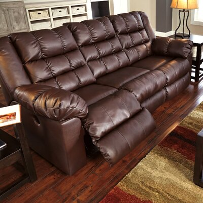 Brolayne DuraBlend Reclining Sofa Recliner Mechanism: Manual, Upholstery: Brown