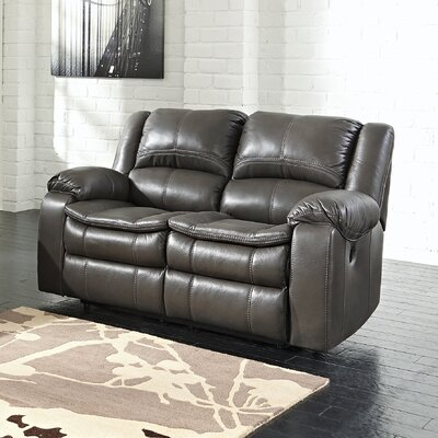 Long Knight Reclining Loveseat Type: Manual, Upholstery: Grey