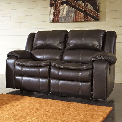Long Knight Reclining Loveseat Upholstery: Brown, Type: Manual