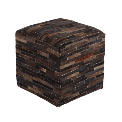 Cowhide Cube Ottoman Upholstery: Black