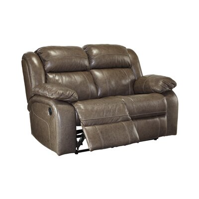 Branton Leather Reclining Loveseat Recliner Mechanism: Power, Upholstery: Quarry