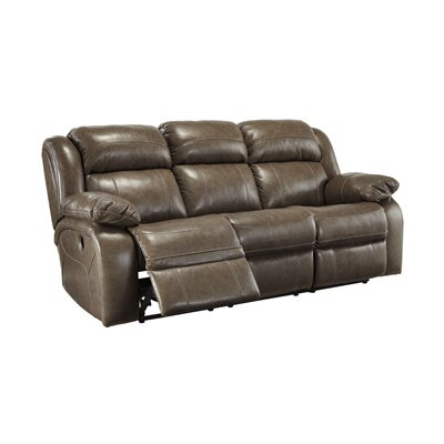 Branton Genuine Leather Reclining Sofa Recliner Mechanism: Manual, Upholstery: Quarry
