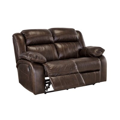 Branton Leather Reclining Loveseat Recliner Mechanism: Manual, Upholstery: Antique