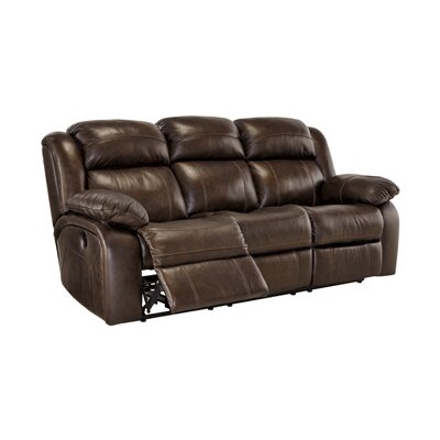 Branton Genuine Leather Reclining Sofa Recliner Mechanism: Manual, Upholstery: Antique