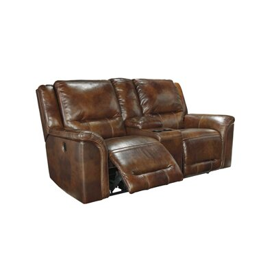 Jayron Leather Reclining Sofa Type: Power