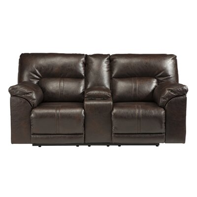 Double Reclining Console Sofa Type: Manual