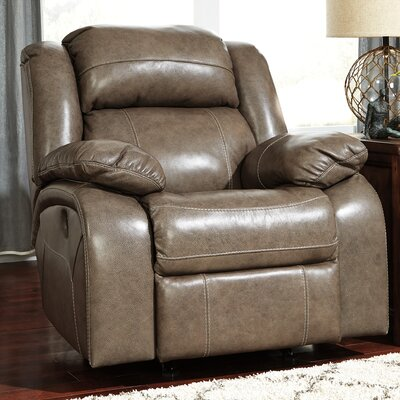 Branton Leather Rocker Recliner Reclining Type: Power, Upholstery: Quarry