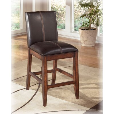 Ashley Furniture Willow 24 Barstool in Rich Burnished Dark Brown Wood (Set of 2) (Set of 2) Best Price