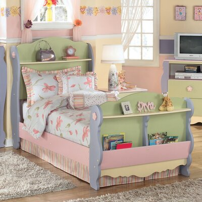 Harper Twin Sleigh Bed in Multicolored Pastel