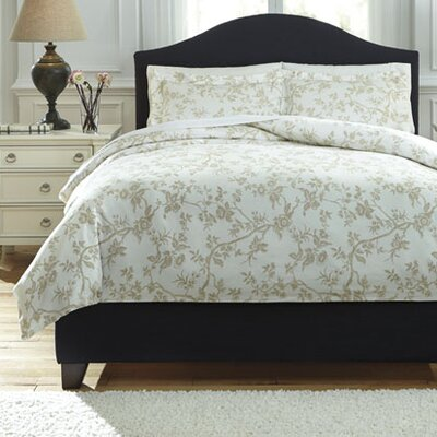 Florina 3 Piece Duvet Cover Set Size: Queen, Color: Natural/White