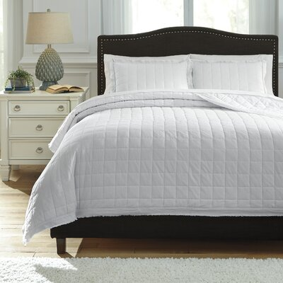 Amare 3 Piece Coverlet Set Size: Queen, Color: White
