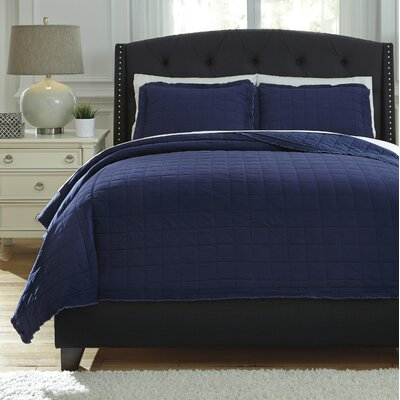 Amare 3 Piece Coverlet Set Size: King, Color: Navy