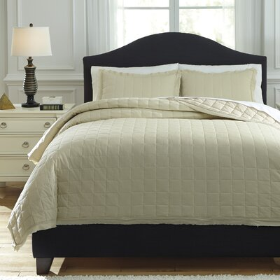 Amare 3 Piece Coverlet Set Size: Queen, Color: Sand