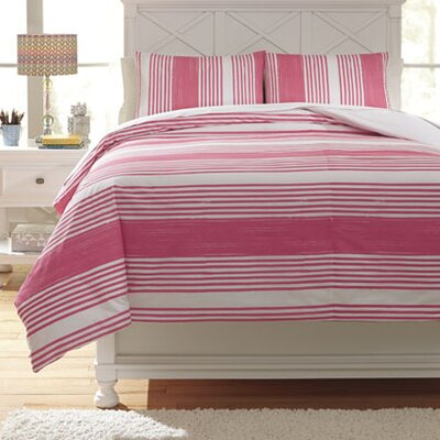 Taries Duvet Cover Set Color: Pink, Size: Full