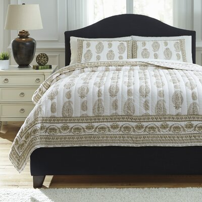 Almeda 3 Piece Coverlet Set Color: Beige, Size: King