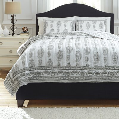 Almeda 3 Piece Coverlet Set Size: King, Color: Gray