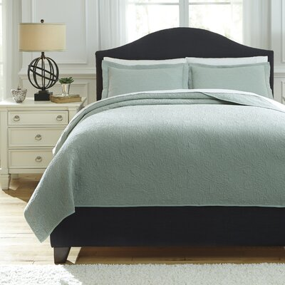 Bazek 3 Piece Coverlet Set Size: Queen, Color: Sage Green