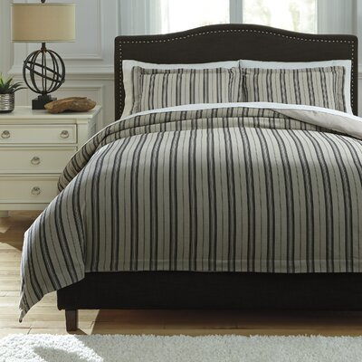 Navarre 3 Piece Duvet Cover Set Size: Queen, Color: Black/Natural
