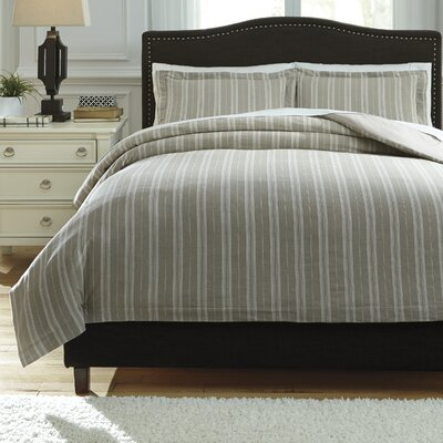 Navarre 3 Piece Duvet Cover Set Size: Queen, Color: White/Natural