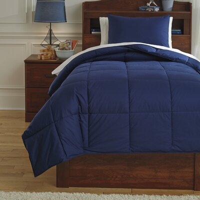 Plainfield Comforter Set Size: Twin, Color: Navy