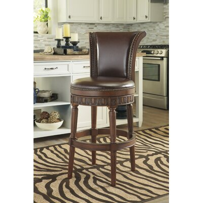 31 Swivel Bar Stool with Cushion Finish: Dark Brown