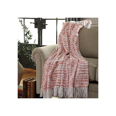 Cassbab Cotton Throw Blanket Color: Coral
