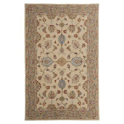 Yarber Hand-Tufted Wool Beige/Green/Blue Area Rug Rug Size: Rectangle 5 x 8