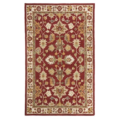 Scatturro Hand-Tufted Wool Red/Beige Area Rug Rug Size: Rectangle 5 x 8