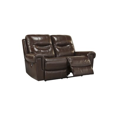 Casscoe Reclining Loveseat Upholstery: Dark Brown, Type: Manual