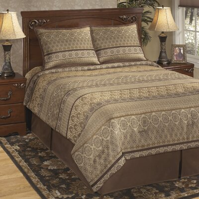 Nicole 4 Piece Comforter Set Color: Java, Size: Queen