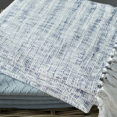 Cassbab Cotton Throw Blanket Color: Blue
