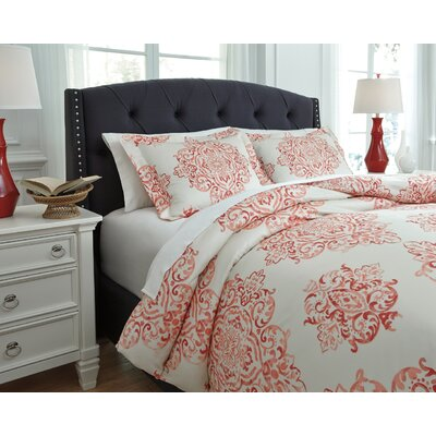 Fairholm 3 Piece Duvet Cover Set Size: Queen, Color: Coral