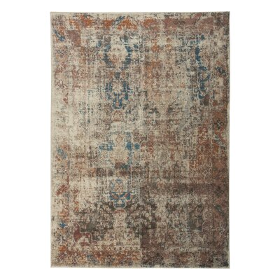 Hedley Rust/Blue/Cream Area Rug Rug Size: 53 x 76