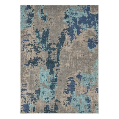 Hopewell Gray/Blue Area Rug Rug Size: 5 x 7