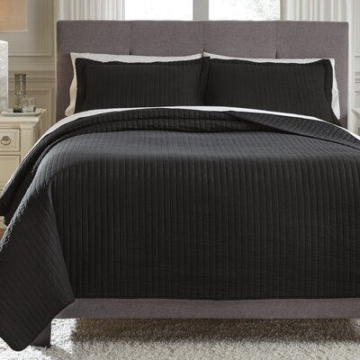 Desiree 3 Piece Coverlet Set Size: Queen, Color: Black