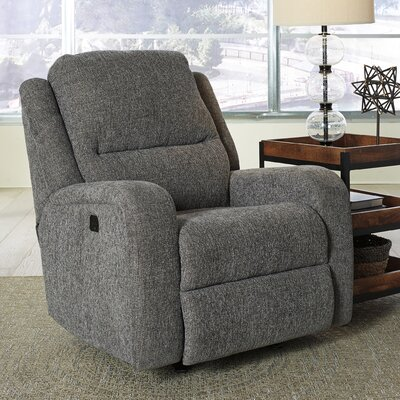 Armatou Power Rocker Adjustable Headrest Recliner Upholstery: Charcoal