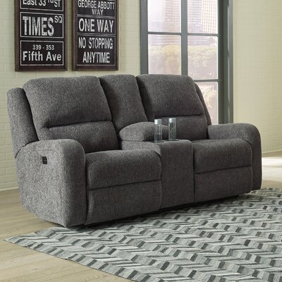 Armatou Reclining Loveseat Upholstery: Charcoal