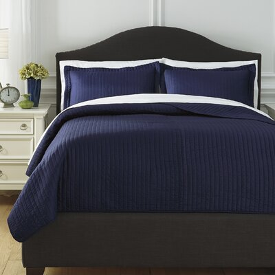 Desiree 3 Piece Coverlet Set Size: King, Color: Navy