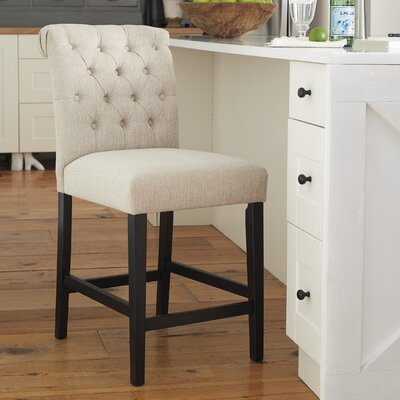 Urbana Upholstered Bar Stool (Set of 2) Upholstery: Cream