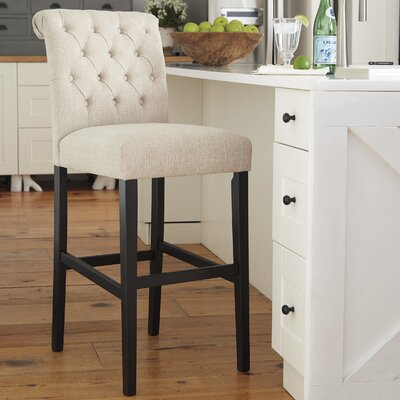 Urbana Tall Upholstered Bar Stool (Set of 2) Upholstery: Linen