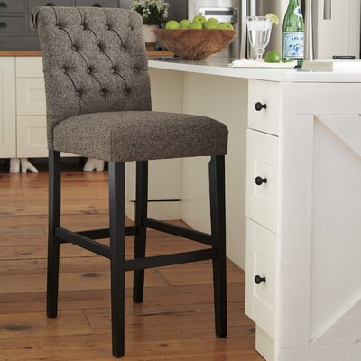 Urbana Tall Upholstered Bar Stool (Set of 2) Upholstery: Gray