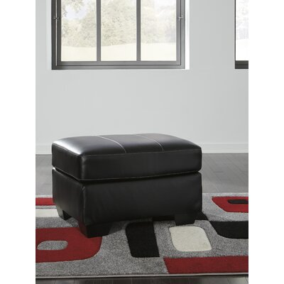 Cabrini Leather Ottoman Upholstery: Black