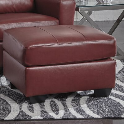 Cabrini Leather Ottoman Upholstery: Red