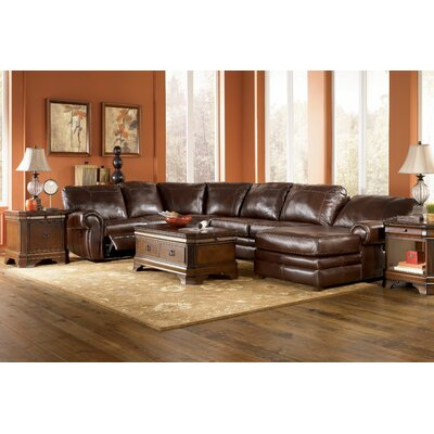 Leather reclining sectionals for Ashley reclining chaise