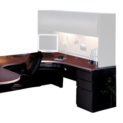 30 H x 72 W Left Desk Return Base Finish: Black, Top Finish: Crown Cherry / Black, Orientation: Left