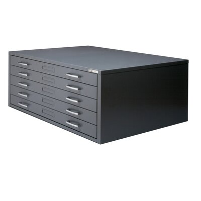 C-Files 5-Drawer Flat Filing Cabinet Size: 15.38 H x 40.75 W x 28.38 D, Finish: Gray