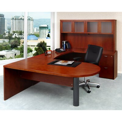 Mira Series U-Shape Computer Desk with Hutch Finish: Medium Cherry, Number of Drawers: 3 Product Image 9
