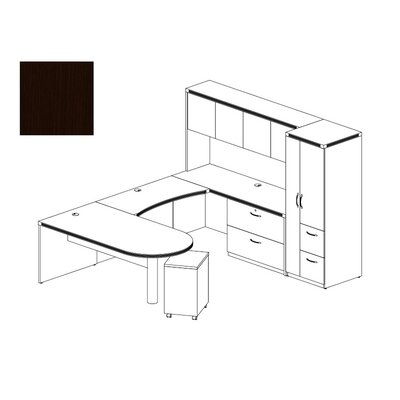 Aberdeen 4-Piece Series U-Shape Desk Office Suite Finish: Mocha Product Picture 38