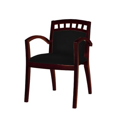 Leather Guest Chair Seat Color: Black, Frame Finish: Sierra Cherry Veneer